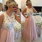 Women Lace Sleeveless Pink Evening Party Wedding Cocktail Club Formal Long Dress