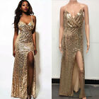 Sexy Women Sequins Halter Split  Evening Party Wedding Cocktail Club Long Dress