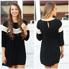 New Come Foreign Trade Lace Dress Shirt Sleeve Dress Skirt