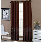 Horizon Two-Tone Embroidered Grommet-Top INDIVIDUAL Curtain Panel- 2 Colors
