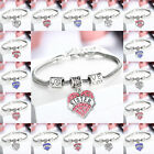 FAMILY BRACELETS LOVE HEART CRYSTAL CHARMS PENDANT  SILVER TONE BANGLE GIFT