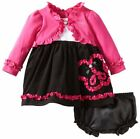 Youngland girls dress cardigan set Long sleeves ruffled Infant size 18M NEW