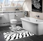 Luxury Non Slip Printed Animal Zebra Bath Mat Pedestal Mat Black White