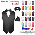 men s dress vest bow tie hankie