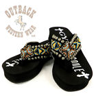 Gypsy Soule Women's Zydeco Black Wedged Embellished Flip Flops ZYDECO