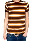 Striped vtg tee t-shirt brown white yellow indie mod NEW preppy beach boys 60's