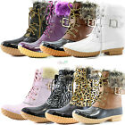 Women Winter Warm Snow Booties Ankle Buckle Duck Padded Mud Rubber Rain Shoes