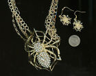 Western Costumes 13412 Multi Chain Necklace Rhinestone Spider on Web + Earrings