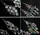 Victorian Multicolor Crystal Beads/Clear Crystal Rhinestones Dangle Earrings