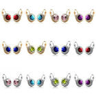 Women Lady Rhinestone Crystal Zircon Round Ear Stud Hoop Drop Earrings Jewelry image