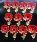 10/50p Bulk Red Flower Poppy Brooch Crystal Diamante Pin Badge Remembrance Day