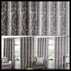 Camila Lined Eyelet Curtains Metallic Floral Damask Ready Made Pair Ring Top