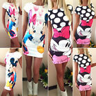 Women Slim Bodycon Mickey Minnie Mouse Print Summer Evening Party Mini Dress Fit