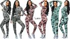 Womens Ladies Celebrity Camouflage Camo Top And Bottom Longewear Set Tracksuit
