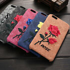 New Vintage 3D Embroidered Rose Hard Cover Case For Apple iPhone 6 6s/7 Plus CX