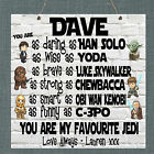 Personalised Plaque Star Wars Dad Step Daddy Grandad Fathers Day Superhero Gift