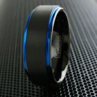 8mm Tungsten Ring Black & Blue Brushed Stripe Wedding Band Men's Jewelry