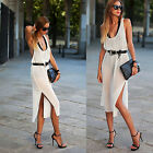 Women Sexy Summer Sleeveless Halter Vest Backless Perspective Split Middy Dress