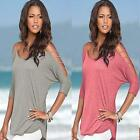 Fashion Womens Hollow Out Shirt Off Shoulder Loose Casual T-Shirts Tops Blouse W