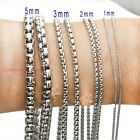 1/2/3/4/5mm Fashion Women/Men's Silver 316L Stainless Steel Box Chain Necklace