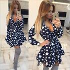 Women Shirt Dress star Printed Fashion Irregular Long Sleeve Mini dress