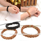Men Women Braided Twisted Woven Leather Surfer Wrap Bracelet Wristband Cuff Hot