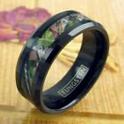 8mm Black Tungsten Men's Red and Green Tree Camo Stripe Ring Size 9-13