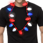 Red White Blue Color Light Up Necklace USA Holiday Political Party Favor Decor