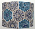 Blue and Beige Mosaic Moroccan  Geometric tile  Linen style Lampshade / Pendant