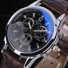 Fashion Classic Men's Date Leather Stainless Steel Military Quartz Wrist Watch