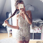 New Women Deep V Neck Halter Backless Sequin Party Club Jumpsuit Romper Trousers