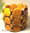 Women Elegant African Culture Inspired Design Wood Beads Tall Stretch Bracelet