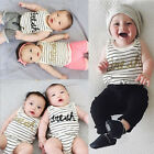 Striped Infant Baby Girl Boy Bodysuit Romper Jumpsuit Outfits Summer Sunsuit
