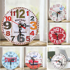 Vintage Retro Wooden Wall Clock Large Shabby Chic Rustic Kitchen Home Antique