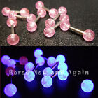 6mm (Small) 18g Surgical Steel Barbell Tragus Cartilage Bar - Pink Glitter UV