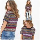 Fashion Girl Women Striped Floral Print Short-Sleeve Shirt Summer
