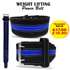 Weight Lifting Belt Power Training NUBUCK Leather Back Support Gym Belt - BLUE