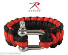 Red and Black Paracord Bracelet With D-Shackle Closure   - Style # 911