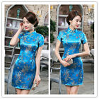 Chinese Dragon Phoenix Women's Silk Saitn Mini Dress Cheongsam Skyblue SZ S- 6XL
