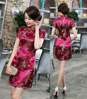Chinese Dragon Phoenix Women's Silk Saitn Mini Dress Cheongsam Dark Red S - 6XL