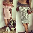 Summer Women Short Sleeve Bodycon Slim Striped Evening Party Cocktail Mini Dress