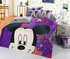 New 2016 Mickey Mouse Bedding Set 4pc Queen King Purple Cotton Gift RARE