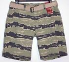 NWT Men's Arizona Classic Fit Belted Shorts Size 30 34 40 Tiger Camo 100% Cotton