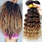 3 Bundles Peruvian Deep Curly Virgin Hair Ombre Unprocessed Extensions 150g