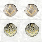 Masonic Cuff links Two Tone Pewter and Gilded Gold