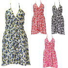 Women Ladies Floral Print Halter Neck V Back Skater Summer Evening Dress Top