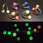 18g Glow in the Dark! Surgical Steel 10mm Twist Ring