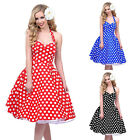 Hot Sale Elegant  Polka dot Swing Housewife pinup Vintage  Retro Halter Dress LF