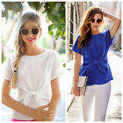 Lady Women Slim Blouses Bow Spring Summer Short Sleeve OL Office Work Clothing