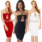 Summer Sexy Womens Milk Fiber Cut Out Cocktail Party Halter Slim Bodycon Dress